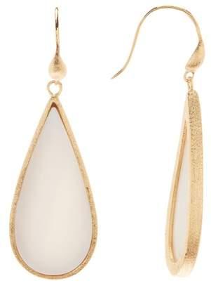 Rivka Friedman 18K Gold Clad Bold Teardrop Mother of Pearl Slice Dangle Earrings