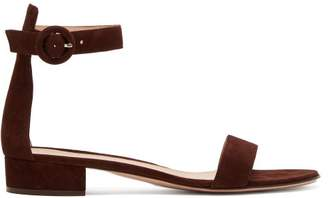 Gianvito Rossi Portofino Suede Sandals - Womens - Dark Brown