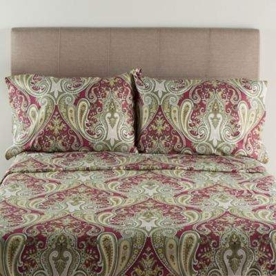 Crystal Palace 300-Thread-Count Twin Sheet Set in Burgundy