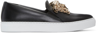 Versace Black Medusa Slip-On Sneakers $925 thestylecure.com