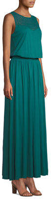 Three Dots Lace-Yoke Sleeveless Maxi Dress