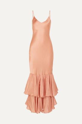 Mes Demoiselles Marmelade Ruffled Silk-satin Maxi Dress - Antique rose