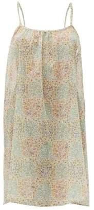Loup Charmant Floral Print Organic Cotton Mini Dress - Womens - Green