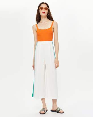 Topshop Side Stripe Crop Wide Trousers