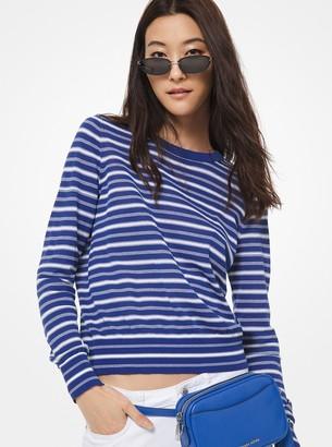MICHAEL Michael Kors Striped Stretch-Cotton Sweater