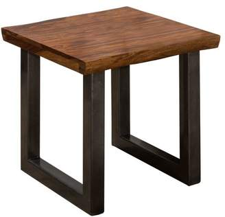 Hillsdale Furniture Emerson End Table , Natural Sheesham Wood / Gray Metallic