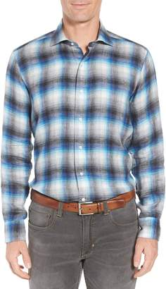 Peter Millar COLLECTION Bisti Regular Fit Plaid Linen Sport Shirt