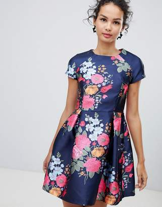 Qed London QED London cap sleeve fit and flare floral dress