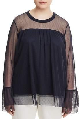 Junarose Irena Bell-Sleeve Dotted-Mesh Top