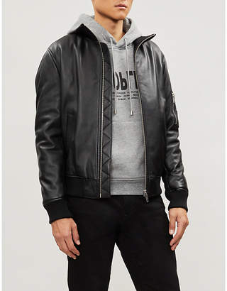 The Kooples Zig-zag stitch panel leather jacket