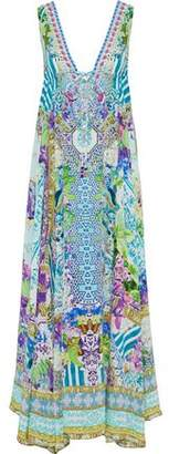 Camilla Salvador Fields Forever Embellished Printed Silk Crepe De Chine Maxi Dress