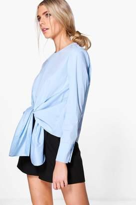 boohoo Lydia Knot Front Long Sleeve Woven Shirt