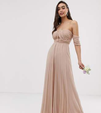 ff32e5a397 Bardot Asos Design ASOS DESIGN Bridesmaid ruched pleated maxi dress