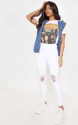 PrettyLittleThing White Knee Rip 5 Pocket Skinny Jean