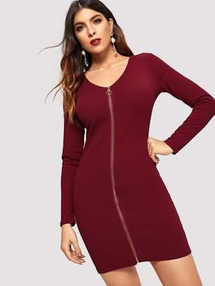 Shein Slim Fitted Zipper Up Dress