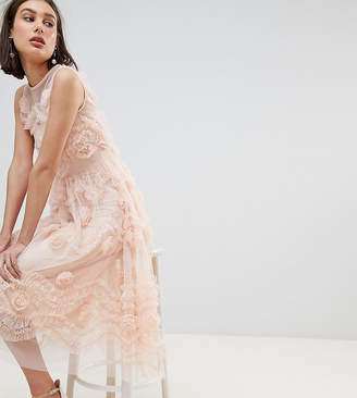 Lace and Beads Lace & Beads Tulle Midi Dress With 3D Shirring Detail