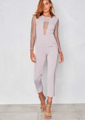 Missy Empire Missyempire Raina Grey Mesh Net Plunge Jumpsuit