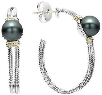 Lagos 18K Gold and Sterling Silver Luna Cultured Tahitian Pearl Hoop Earrings