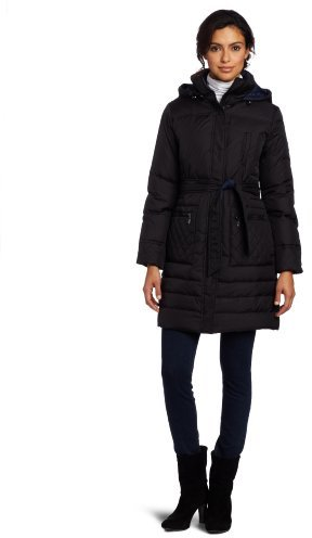 Larry Levine Women's Two-Tone Belted Down Coat