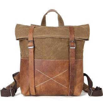 EAZO - Waxed Canvas Backpack With Vintage Leather Detail In Brown