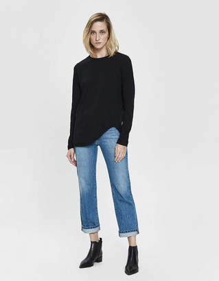 Bassike Heritage Scoop Hem Long Sleeve T-Shirt in Black