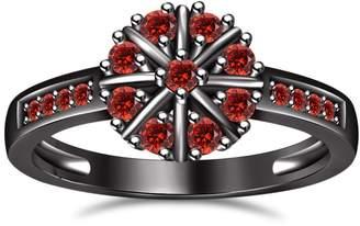 Marvelous! TVS-JEWELS Marvelous Garnet In Round Cut 925 Sterling Silver Black Rhodium Plated Impressive Flower Shape Engagement Ring (13.5)