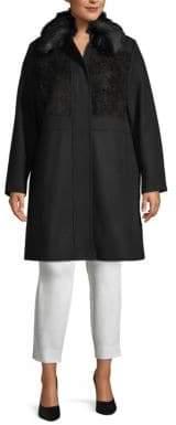 Rachel Roy Plus Faux Fur Long-Sleeve Coat