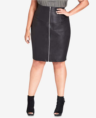 6f8d646cad7 City Chic Trendy Plus Size Faux-Leather Skirt
