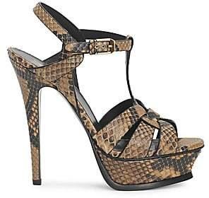 Saint Laurent Women's Tribute 105 Snakeskin Embossed Leather Platform Sandals