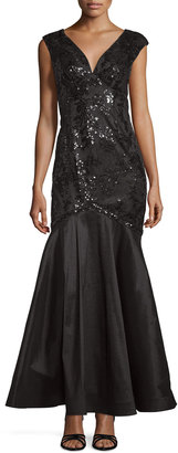Marina V-Neck Floral-Sequined Gown, Black $169 thestylecure.com