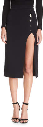 Dahlia Cushnie Button-Side Slit Skirt