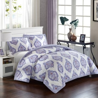LUX-BED 3-Piece Bergen Palace NEW!! LUX-BED COLLECTIONS!! 100% Cotton 200 Thread Count Purple Global inspired Medallion REVERSIBLE Luxury Full/Queen Comforter Set Lavender With 2 Shams