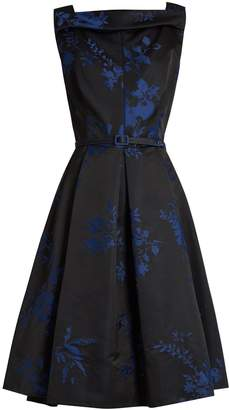OSCAR DE LA RENTA Floral-jacquard satin dress