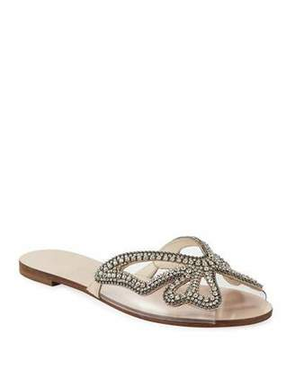 Sophia Webster Madame Crystal Butterfly Flat Slide Sandals, Nude