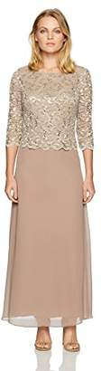 Alex Evenings Women's Petite Long Lace and Chiffon Dress