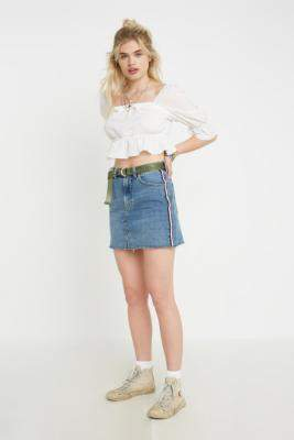 BDG Austin Mid Vintage Wash Side Stripe Notched Denim Mini Skirt - blue XS at Urban Outfitters