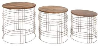 DecMode Decmode Modern Round Mango Wood Tables With Iron Mesh Frame - Set of 3