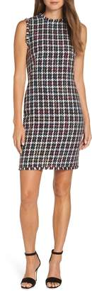 Charles Henry Sleeveless Tweed Sheath Dress