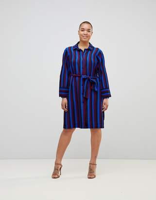Monki Tie Front Striped Shirt Dress