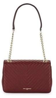Karl Lagerfeld Paris Merlot Charlotte Leather Shoulder Bag