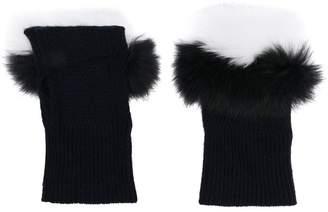 N.Peal fur-trim fingerless gloves