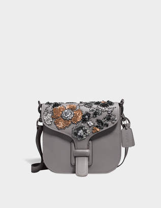 Coach Courier Crossbody Bag in Grey Calfskin