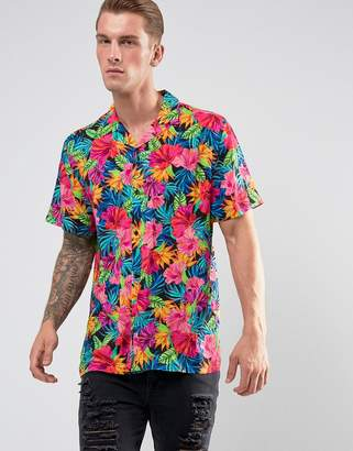 Jaded London Shirt In Feather Print Reg Fit