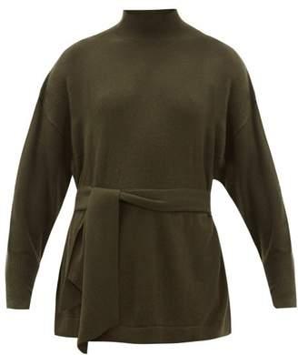 Zimmermann Espionage Belted Wool Blend Sweater - Womens - Dark Green