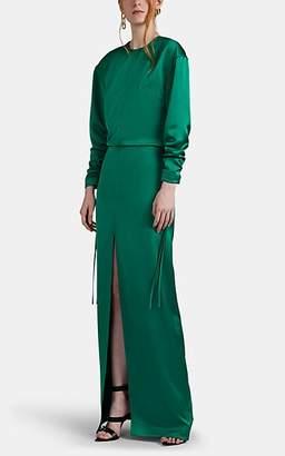 Cédric Charlier Women's Satin Open-Back Gown - Green