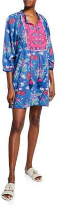 Bella Tu Fleur Floral-Print Split-Neck Peasant Dress with Embroidery