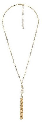 Pearl Bead & Chainlink Tassel Drop Necklace $6 thestylecure.com