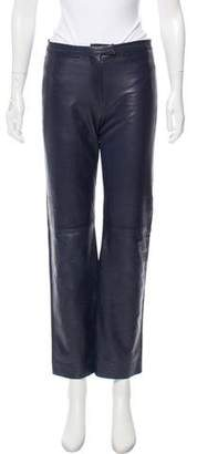Burberry Mid-Rise Leather Pants