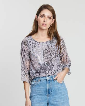 Dorothy Perkins Billie & Blossom Multicoloured Glitter Pleat Neck Blouse