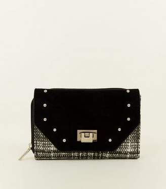 At New Look Black Check Print Studded Small Purse